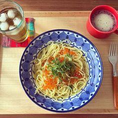 ayapple815*2016.2.18* * * いくらと大葉のパスタ♡♡ * * おかあさんが北海道へ旅行へ行ったお土産で いくらをたくさんもらったので * * #lunch #昼食 #おうちごはん #いくら #いくらと大葉のパスタ #foodpic #pasta #instafood #うつわ #器 #francfranc #HASAMI #iittala #無印良品 #いくら大好き