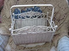 Ornate Beautiful Metal and Wicker Magazine Rack  /NOT INCLUDED In discount coupon Sale  :)