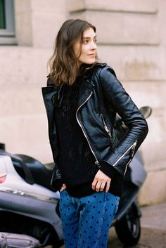 Kati going the moto #offduty in Paris. #KatiNescher