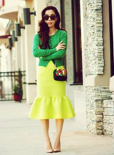... Dolce & Gabbana Mini Bag, Peplum Skirt, Nude Pumps - Lime Peplum