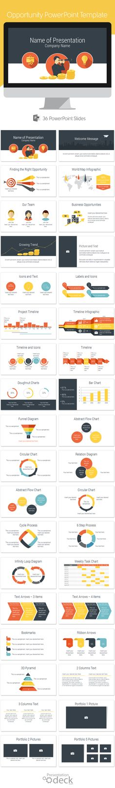 Opportunity PowerPoint template in flat design style with 36 pre-designed slides.  This template is a great choice for presentations on growth opportunity, development and expansion, marketing, business solution, etc. #powerpoint #powerpoint_templates #presentations #business