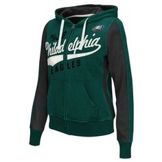 Philadelphia Eagles Womens Point After Full Zip Hoodie – Midnight Green
