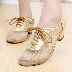 [US$ 29.99] Women's Lace Flats Sneakers Practice With Lace-up Dance Shoes (053108829)