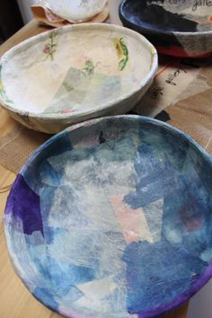 カゴ張り オイル仕上げ 和紙 一閑張 カフェギャラリーR2おださが Paper Art, Paper Crafts, Diy Crafts, Japanese Paper, Serving Bowls, Plates, Create, Tableware, Projects