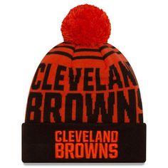 fa00b5979e8 Cleveland Browns New Era Logo Whiz 2 Cuffed Knit Hat with Pom - Orange Brown