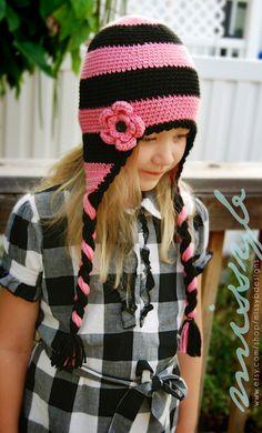 Crochet Hat Pattern Striped Flap Hat EASY to por missybdesigns