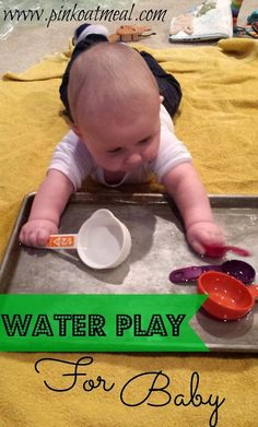 Sensory and Tummy Time Water Play For Baby! Never leave baby unattended for water play! A fun way to make tummy time more interesting, especially for babies who may not enjoy it-Sara Baby Sensory Play, Baby Play, Baby Toys, Baby Sensory Ideas 3 Months, Sensory Motor, Infant Activities, Activities For Kids, 4 Month Old Baby Activities, Indoor Activities
