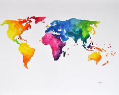 ORIGINAL Abstract World Map Painting 14x20 Inch by ArtCornerShop