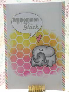 zur Geburt / Babykarte für Annis Herausforderung #3 (http://annikarten.blogspot.de/2014/04/annis-herausforderung-3.html)  Detailfotos hier: http://www.pinterest.com/pin/221943087861224396/ und hier: http://www.pinterest.com/pin/221943087861224394/ #stencil #embossingpaste #distressink #papersmooches #winkofstella #deltamarker #lawnfawn #scrapbookwerkstatt #stampinup