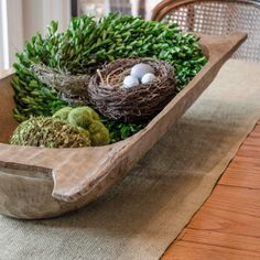 Table centerpiece Sugar Mold, Barn Kitchen, Wooden Dough Bowl, Entry Tables, Bread Bowls, Spring Has Sprung, Earth Day, Inspired Homes, Botanical Prints