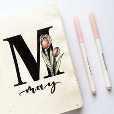 Bullet journal monthly cover page, May cover page, hand lettering, tulip drawing. Bullet journal m Bullet Journal Month Cover, Bullet Journal First Page, Self Care Bullet Journal, Bullet Journal Notebook, Bullet Journal Themes, Bullet Journal Spread, Bullet Journal Layout, Bullet Journal Inspiration, Journal Ideas