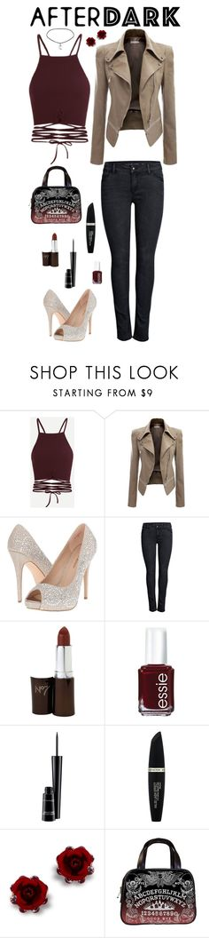 """""""After Dark Party"""" by mwhispers ❤ liked on Polyvore featuring Lauren Lorraine, ONLY, Essie, MAC Cosmetics and Max Factor"""