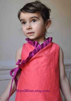 PDF pattern -Ruffled kimono dress - 12m up to 4T- Easy sewing - ManiMina on Etsy