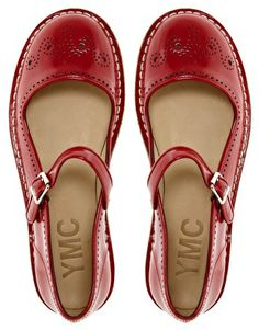 These are adorable... what would I wear them with?? Enlarge YMC Red Mary Jane Flat Shoes