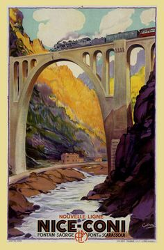 Train Nice Coni France Travel Tourism French Trip Vintage Poster Repro FREE S/H | eBay