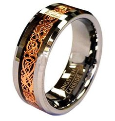 8mm Tungsten Celtic Ring With Rose Gold Dragon Inlay. The finest rose gold celtic dragon ring also available in 6mm. Perfect His and Her celtic ring set!