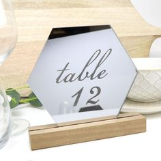 Mirror Silver Hexagon Table Number - Acrylic with Timber Base - Printed Wedding Table Decoration - Cafe Restaurant Acrylic Table, Acrylic Mirror, Diy Wedding Decorations, Table Decorations, Wedding Day Itinerary, Silver Table, Beautiful Mirrors, Acrylic Material, Wedding Table Numbers