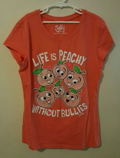 """Justice Girls """"Life Is Peachy Without Bullies"""" Graphic Tee Size 16 #55 in Clothing, Shoes & Accessories, Kids' Clothing, Shoes & Accs, Girls' Clothing (Sizes 4 & Up)   eBay, Back to school shopping, Christmas Shopping"""