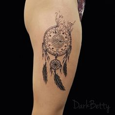 Clock Dreamcatcher Tattoo by DarkBettyTattoo