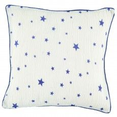 Theo star cushion case - electric blue and white