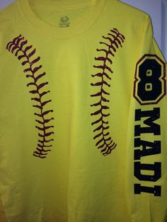 Custom Long Sleeve yellow stitching softball by BlingItOn72058