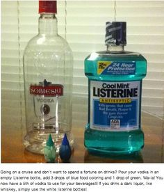 Perfecting the fine art of drinking in public: Pour your vodka in an empty Listerine bottle, add 3 drops of blue food coloring and 1 drop of green. Voila!  (hilarious)