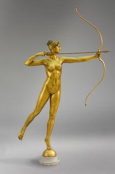 Diana, 1892–93; this cast, 1928  Augustus Saint-Gaudens (American, 1848–1907)  Bronze, gilt