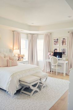 Elegant White Master Bedroom & Blush Decorative Pillows - Th.- Elegant White Master Bedroom & Blush Decorative Pillows – The Pink Dream Elegant White Master Bedroom & Blush Decorative Pillows - Romantic Master Bedroom, Master Bedroom Makeover, Modern Bedroom, Contemporary Bedroom, Bedroom Black, Bedroom Rustic, Master Suite, Master Bedrooms, Bedroom Neutral