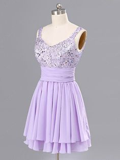 A-line Straps Chiffon Short/Mini Sequins Homecoming Dresses at Millybridal.com