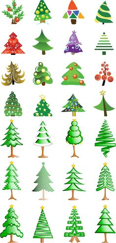 "2 Sets of 28 vector Christmas tree logotypes in cartoon style with different shapes and decorations for your design needs and Xmas decorations. Format: ai, tif stock vector clip art and illustrations. Free for download. Set name: ""Christmas tree logotypes""…"