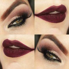 eye and lip make-up & close up *U* gold smokey eyes, maron matte lipstick perfect for green eyes!