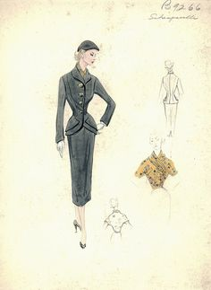 Elsa Schiaparelli fashion illustration. Gray suit, double-breasted jacket with layered peplum and sheath skirt. Includes one front and two back views in pencil and watercolor. Bergdorf Goodman 1950s.