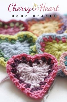 Cherry Heart: Boho Hearts. ❤CQ #crochet #hearts