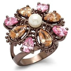 Chocolate Gold Plated Flower Deco Ring Pearl Pink Cubic Zirconia Size 8 9 10 #Unbranded #Cocktail