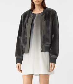Womens Finch Shearling Bomber Jacket (ANTHRACITE GREY) - product_image_alt_text_3