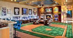 Baseball theme luxury Man Cave with custom carpet and& well, custom everything else, too. Source by raymccoy The post Baseball theme luxury Man Cave with custom carpet and& well, custom everythin& appeared first on MM Bathrooms. Man Cave Diy, Man Cave Home Bar, Man Cave Loft, Man Cave Office, Man Cave Basement, Man Cave Garage, Garage Bar, Garage Office, Small Garage