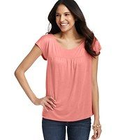 Shirred Yoke Tee - An elegant shirred yoke – and an irresistibly drapey fit – gives this low-key tee plenty of dress-up potential. Scoop neck. Short dolman sleeves. Shirring beneath front and back yoke. Keyhole detail at back neck with button closure.