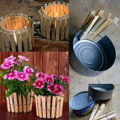 This is so easy and cute! Clothes pins and tuna cans = flower pots or candle holders Kids Crafts, Diy And Crafts, Kids Diy, Easy Crafts, Mothers Day Crafts, Deco Table, Flower Pots, Diy Flower, Flower Seeds