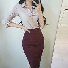 Classy Business Outfits, Business Fashion, Classy Outfits, Sexy Outfits, Korean Fashion Trends, Asian Fashion, Pencil Skirt Outfits, Professional Outfits, Elegant Outfit