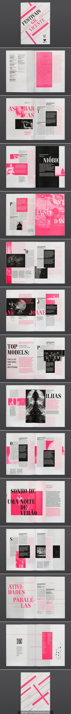 brochure / bichromie / noir / rose / pavé de texte / décalage