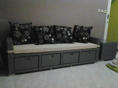 Bench drawer....& side table.... Material Wood....synthetic wicker....