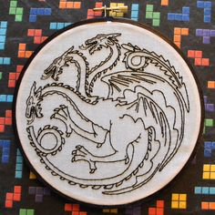 """Fire and Blood - House Targaryen Dragon Sigil - Game of Thrones Inspired -  6"""" Hand Embroidery by NerdsandNeedles on Etsy https://www.etsy.com/ca/listing/290294895/fire-and-blood-house-targaryen-dragon"""