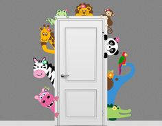 Jungle Safari Elephant Monkey Giraffe Animal Decal Peeking Door Hugger Nursery Wall Decal by onehipstickerchic on Etsy https://www.etsy.com/listing/199474903/jungle-safari-elephant-monkey-giraffe