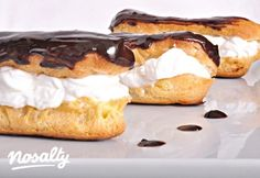 Eclair fánk | Nosalty Hungarian Cake, Hungarian Recipes, Eclairs, Sweet And Salty, Camembert Cheese, French Toast, Cheesecake, Cooking Recipes, Pie