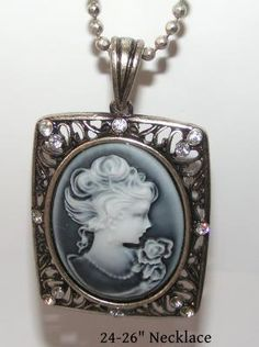 Grey Antique Cameo Necklace Free Shipping $12