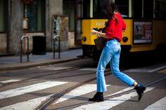 Laura Catrina wearing Levis jeans at Milan Fashion Week
