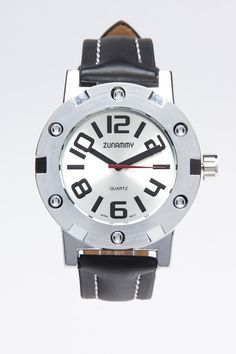 White Dial Round Watch with Black Band