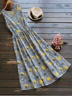 Sleeveless Drawstring Lemon Print Maxi Dress - Colormix One Size Floral Dress Outfits, Modest Outfits, Fashion Dresses, Fashion Clothes, Cute Dresses, Casual Dresses, Summer Dresses, Maxi Dresses, Sleeve Dresses