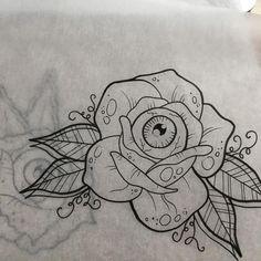 drawings Eyeball rose, second variant. Eyeball rose, second variant. Tattoo Outline Drawing, Tattoo Design Drawings, Outline Drawings, Tattoo Sketches, Art Sketches, Art Drawings, Flash Art Tattoos, Body Art Tattoos, New Tattoos