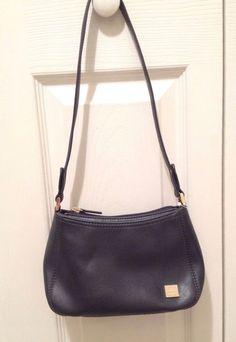 Liz Claiborn NYC Small Handbag, Navy Blue Faux Leather, Never Used! #LizClaiborne #ShoulderBag